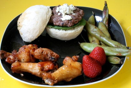 Home-Chopped burgers, homemade garlic buns, fava beans and Dave's lip-smackie-tery-effin'-yaki wings